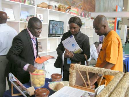 AASW participants viewing vitamin A cassava at the CGIAR booth during AASW6.